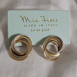 Mia Fiore 14k Gold 2 tone hoops